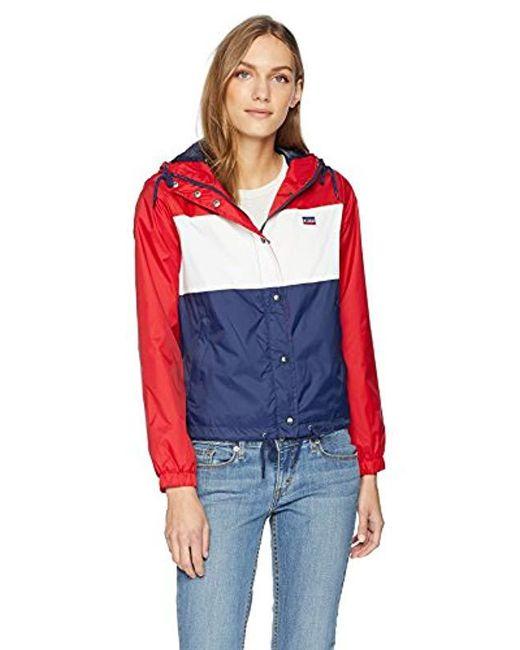 Levi's - Red Nylon Zip-front Jacket - Lyst