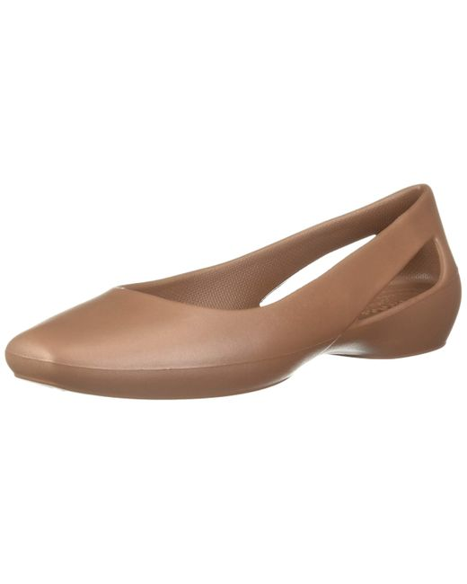 CROCSTM Brown Womens Sloane   Work Shoes for Ballet Flat