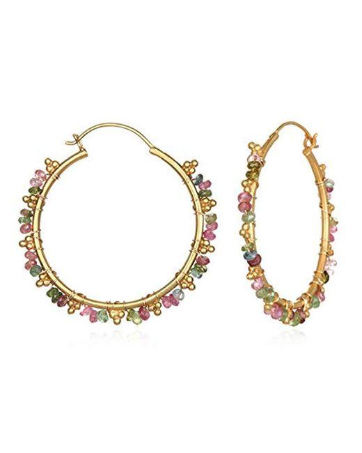 Satya Jewelry - Metallic Tourmaline Gold Wrap Hoop Earrings, Multi, One Size - Lyst
