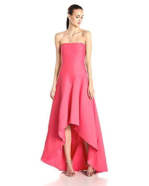 e238989b0d95 Halston Heritage - Pink Silk Faille Strapless Structured Evening Dress -  Lyst ...
