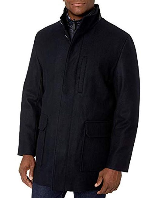 Cole Haan Blue Melton Wool 3 In 1 Car Coat for men