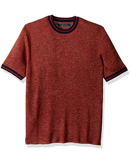 Perry Ellis - Red Speckled Linen Crew for Men - Lyst