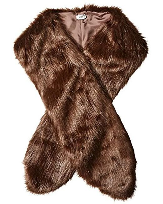 Badgley Mischka Brown Faux Mink Stole Shawl With Solid Lining