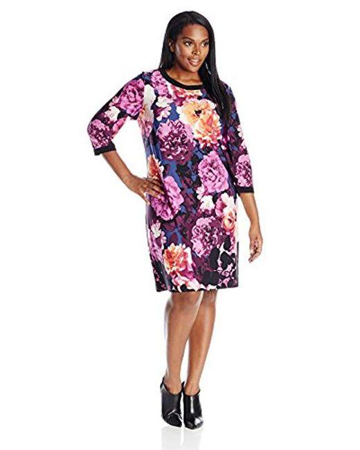 Eliza J - Multicolor Plus-size Long Sleeve Printed Shift Dress - Lyst