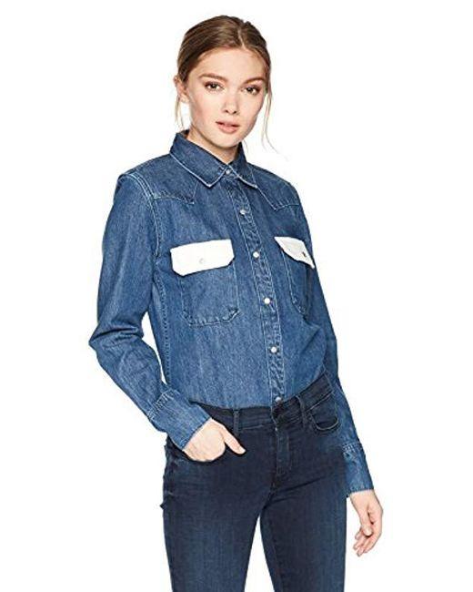 Calvin Klein - Western Lean Contrast Button Down Shirt Dark Blue/white - Lyst