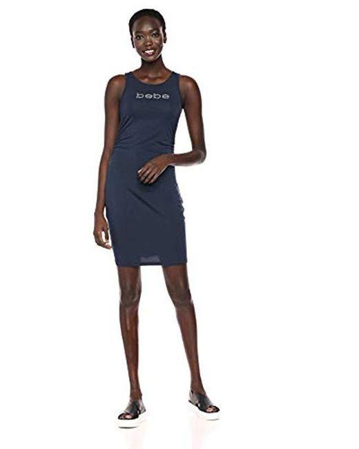 Bebe Blue Sleeveless Logo Dress With Side Shirring
