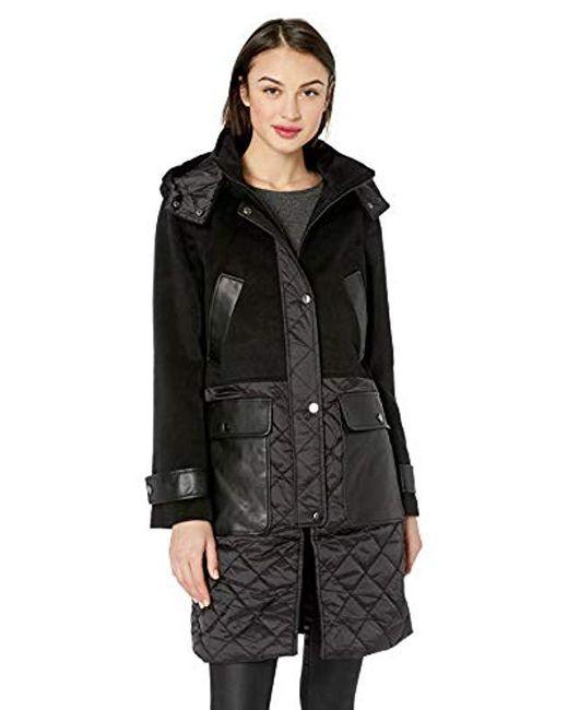 Badgley Mischka Black Mixed Media Mid Length Wool Coat