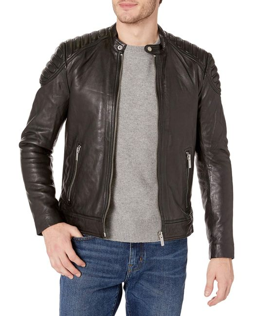 Superdry Black Leather Jacket for men
