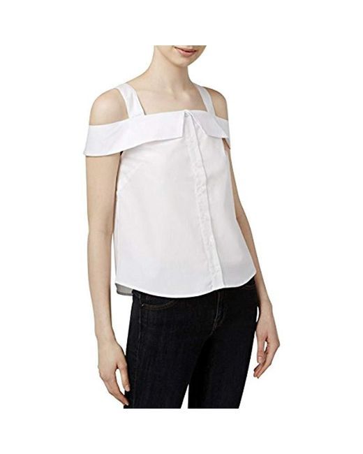 Kensie - White Oxford Shirting Cold Shoulder Top - Lyst