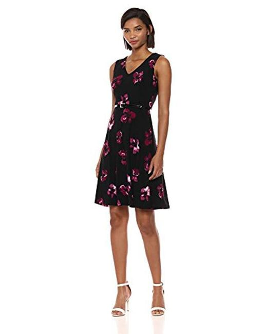 c8c8222aa13 Tommy Hilfiger - Black Sleeveless Fit And Flare Jersey Dress - Lyst ...