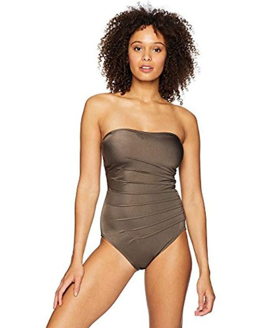 d1a826cee488a Calvin Klein - Black Solid Sweetheart Starburst Bandeau One Piece Swimsuit  - Lyst ...