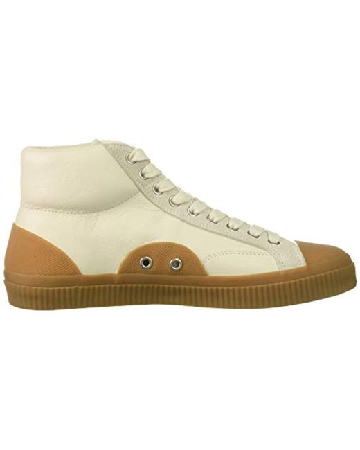f799b69ac0be ... Fred Perry - Natural Hughes Mid Leather Sneaker for Men - Lyst ...