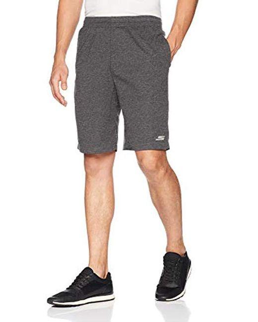 """Skechers Gray Boulder Mesh Terry 10"""" Athletic Short, for men"""