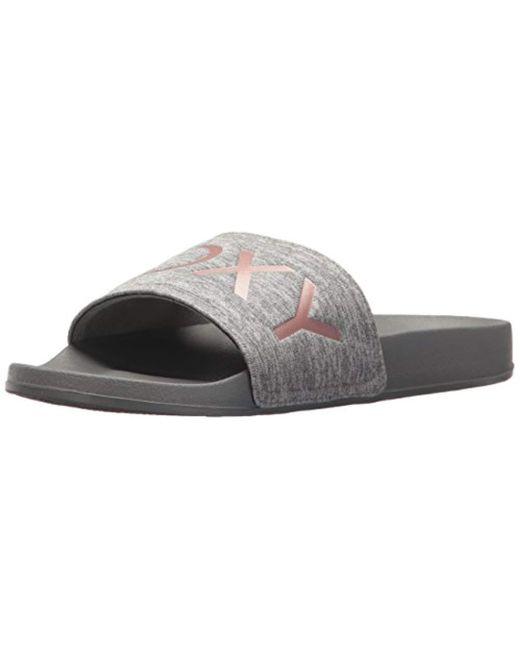 2173d45050f0 Lyst - Roxy Slippy Slide Sandal Sport in Gray - Save 50%
