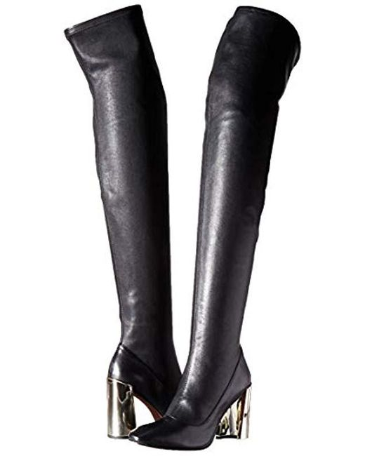 16f76c87073 Women's Bea Over The Knee Boot Boot, Black Stretch Leather, 8.5 M Us