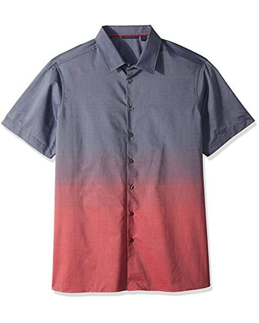 Perry Ellis - Blue Big And Tall Short Sleeve Ombre Horizon Shirt for Men - Lyst
