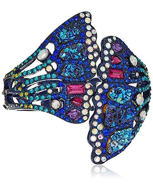 Betsey Johnson - Multicolor Butterfly Purple Metallic Butterfly Wing Hinged Cuff Bracelet - Lyst