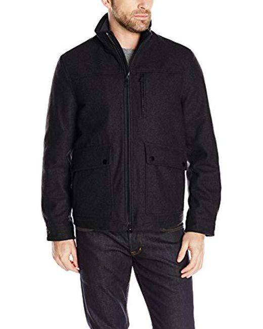 Nautica - Black Wool Melton Jacket for Men - Lyst