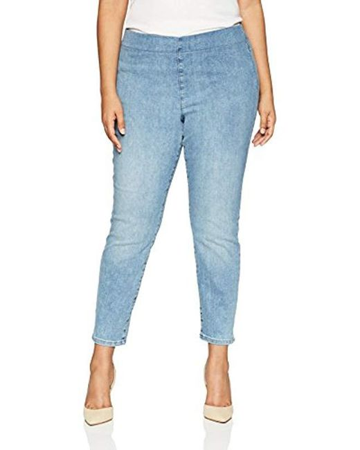 NYDJ Blue Plus Size Pull On Skinny Ankle Jean With Side Slit