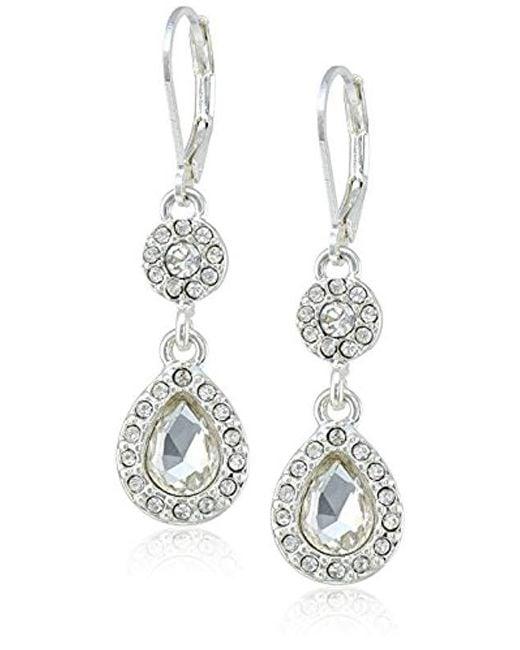 Napier - Metallic Glam Effect Crystal Double-drop Earrings - Lyst