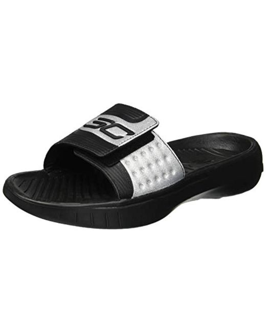 6cd6aa088ffd Under Armour - Black Curry Iv Slide Sandal for Men - Lyst ...