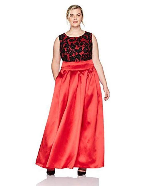 Eliza J - Red Plus Size Lace Top Ballgown - Lyst