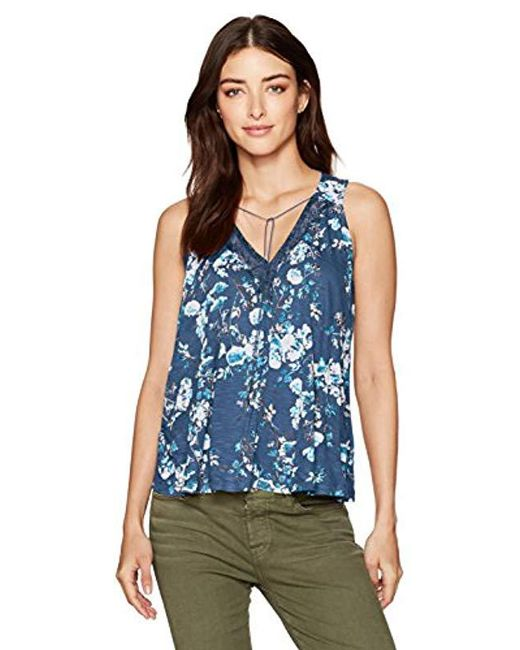 Lucky Brand - Blue Wildflower Lace Tank Top - Lyst