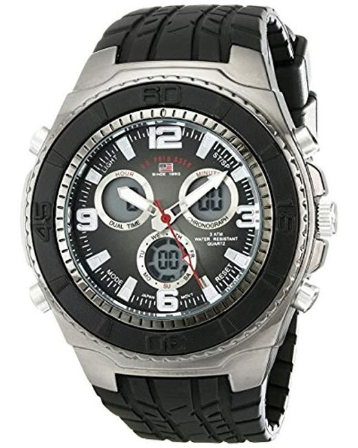 U.S. POLO ASSN. - Sport Us9024 Black Textured Strap Analog Digital Watch for Men - Lyst