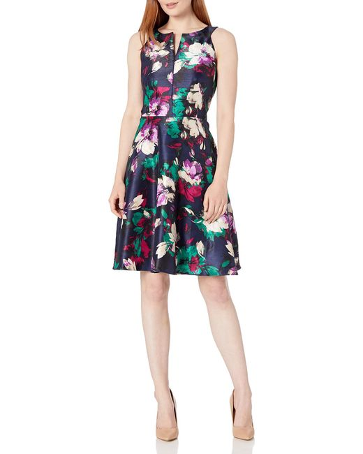 Nine West Multicolor Shantung Fit And Flared W/cf Neck Drop