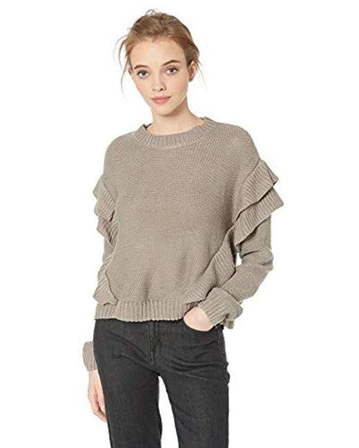 BB Dakota Multicolor Cabin Fever Ruffle Drop Shoulder Sweater