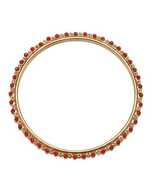 Satya Jewelry - Carnelian Gold Wrapped Bangle Bracelet, Orange, One Size - Lyst