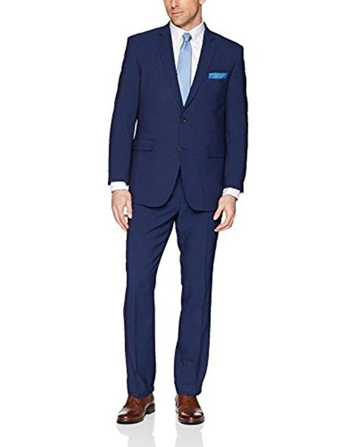 Perry Ellis Blue Two Piece Finished Bottom Slim Fit Suit for men