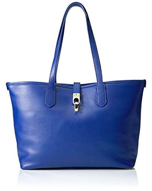 Lyst - Tommy Hilfiger Kira Leather Shopper in Blue - Save ... 6f424d4d6d
