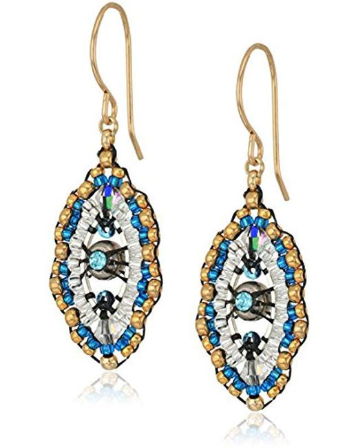 Miguel Ases Blue Small Swarovski Center Oval Ruffle Contrast Drop Earrings Lyst