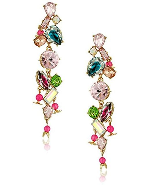 Betsey Johnson - Multicolor S Mixed Stone Linear Earrings - Lyst