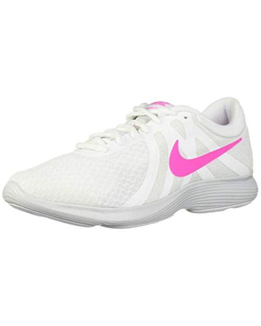 Nike White Revolution 4 Running Shoe