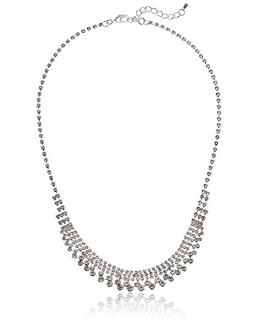 Nina - Multicolor S N-halo Necklace, Rhodium/clear Stones, One Size - Lyst