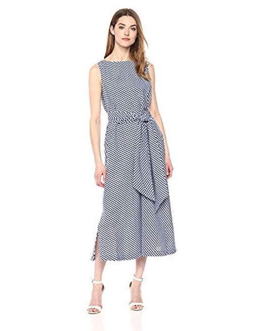 Anne Klein - Multicolor Midi Dress With Sash - Lyst
