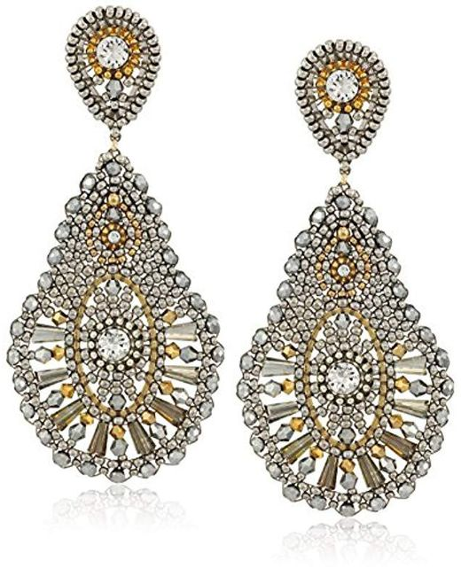 Miguel Ases - Multicolor Large Pear Shaped Pyrite Swarovski Drop Post Earrings - Lyst