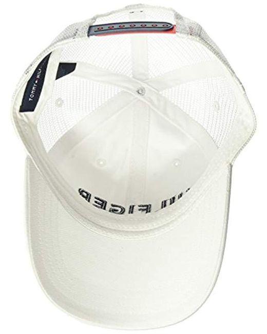 06cc6bd21ff ... Tommy Hilfiger - White Dad Hat Hilfiger Trucker Cap for Men - Lyst