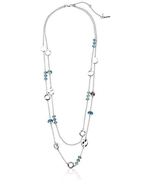 Kenneth Cole - Blue Faceted Bead Two Row Long Necklace, 28''+3'' Extender - Lyst