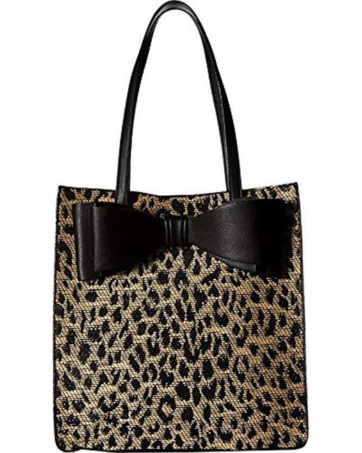 Betsey Johnson - Black Mighty Jungle Leopard Print Bow Tote - Lyst