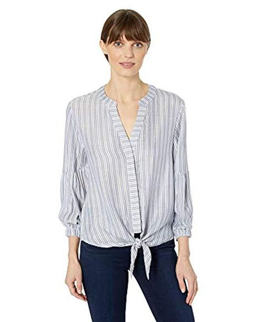 Michael Stars Blue Catalina Kendra Tie Front Striped Top