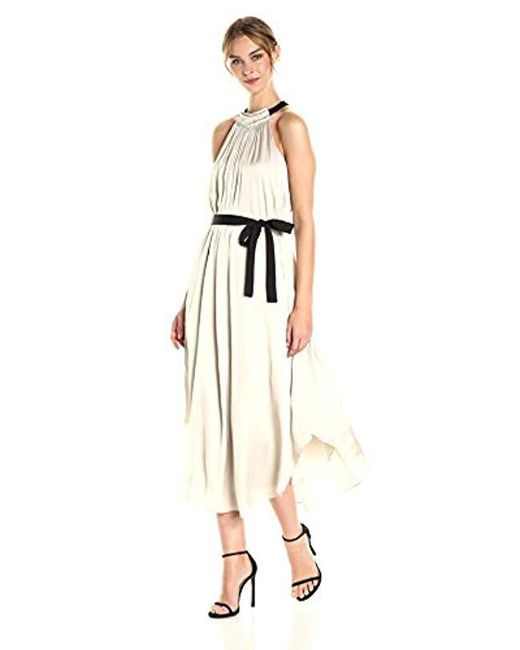Halston Heritage - Natural Sleeveless High Ruched Neck Gown With Tie - Lyst