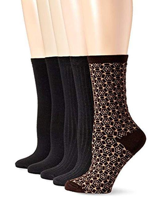Anne Klein - Brown Too Pretty Patterned Crew Socks 5-pack - Lyst