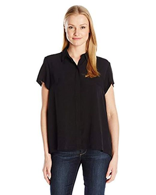 French Connection Black Classic Crepe Light Ss Shirt Blouse