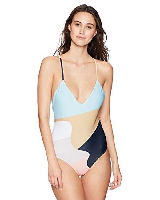 bbb94e83a4 Mara Hoffman - Blue Emma Cross Back One Piece Swimsuit - Lyst ...