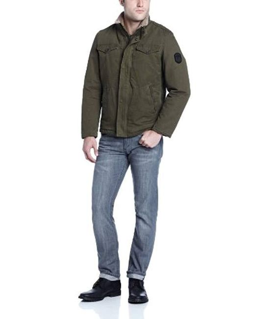 Buffalo David Bitton - Green Buffalo Zip-front Jacket With Inside Collar for Men - Lyst