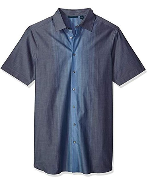 Perry Ellis - Blue Big And Tall Short Sleeve Vertical Ombre Shirt for Men - Lyst