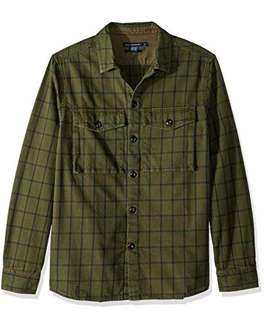French Connection Green Long Sleeve Flannel Stripe Button Down Shirt for men